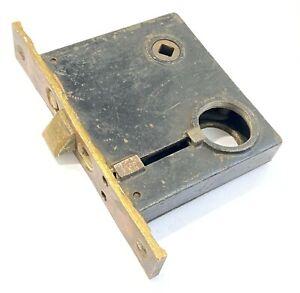 "Vintage Antique Cast Iron Door Knob Mortise Lock 4 1/8"" x 3 1/2"" x 3/4""  B L"