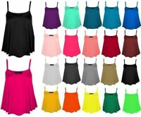 Ladies Plain Swing Women Vest Top Plus Size New Sleeveless Top Strap Cami Flared