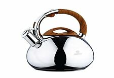Whistling Kettle 3.0 L Stainless Steel Camping Silver/ brown / STOVE TOP SATIN