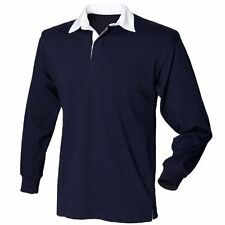 Kids Classic Rugby Shirt Boys Girls Casual Long Sleeve Top by Front Row Navy 11 to 13