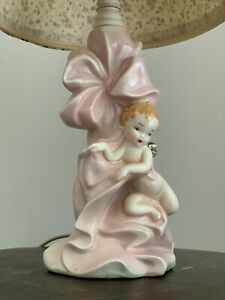 Antique Porcelain Angel Lamp Hand Painted Pink Girls Bouidor Vanity