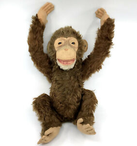 Steiff Jocko Chimp Mohair Plush Big 50cm 20in 1960s ID Button Vtg Monkey Jointed