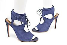 "AQUAZZURA Navy Soft Suede Open Toe Cutout 4.5"" Stiletto Heels w Rear Tie Sz 38.5"