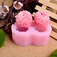 Flexible 3D Rose Flower Ball Shaped Silicone Decorative Soap Candle Molds
