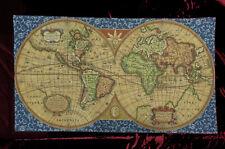 Wandteppich Gobelin Italy OLD MAP WELTKARTE ANTIK DESIGN Blau TAPESTERY 116x68cm