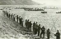 Klamath River Del Norte County California Fishermen 1950s Real Photo Postcard