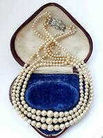 "Elegant Vintage 16"" Faux PEARL Triple Strand NECKLACE Silver Tone Clasp"