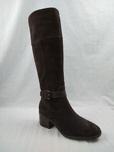Marc Fisher Riley Dark Brown Suede Leather Knee High Riding Boots Women Sz 8.5 M
