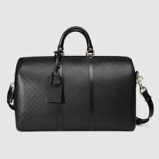 Gucci  Bright Diamante Leather Carry-On Duffel Bag, Black, Medium, MSRP $2,150