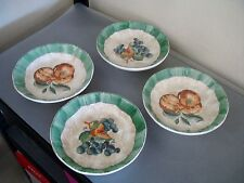 "Set of 4 Himark 8"" Soup Cereal Bowls Fruit Design Grapes Peaches Made in Italy"