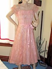 Vintage 50s TULLE PEACH PROM DRESS with Flocking & Ruching Cocktail Party S-M