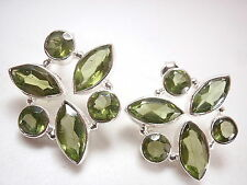 Large Peridot 6-Gem Faceted Stud Earrings 925 Sterling Silver Marquise Round