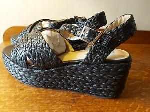 ASOS Flatform Black Raffia Sandals WIDE Size 9 / US 11 / EU 42