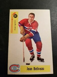 1958 PARKHURST HOCKEY #34 JEAN BELIVEAU MONTREAL CANADIANS EXMT OR BTR