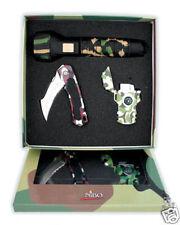 Nibo Camouflage Lighter Knife Flashlight Gift Set NIB