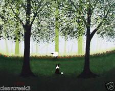 BORDER COLLIE Dog Sheep folk Art PRINT Todd Young GREEN FOREST MIST