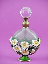 Prism Topped Bejeweled Flowers Green Perfume Bottle