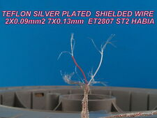 10m 2X0.09mm2 28 AWG HIGH PURITY SILVER PLATED  SHIELDED TEFLON CABLE   AUDIO