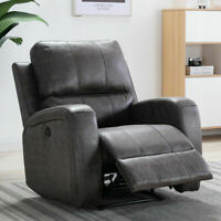 POWER RECLINER CHAIR SOFA RECLINING USB PORT ELECTRIC HOME SEATING SUEDE LOUNGE