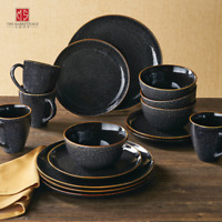 Better Homes Gardens 16-Piece Burns Dinnerware Set Black Speckled  New
