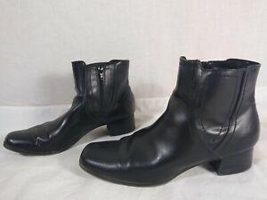 "PREDICTIONS Black Side-Zipper Low Ankle Bootie Boots SIZE 10W, 1-1/2"" heel"