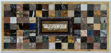 8'x3' Marble Dining Table Mosaic Furniture Inlaid Cubes Stone Handmade Decor