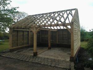 2 Bay Oak Framed Car Barn / Garage