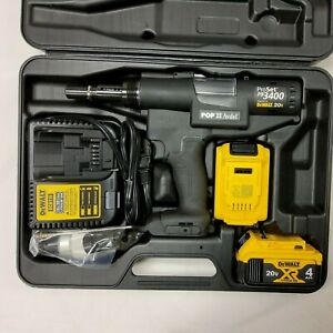 New Stanley POP Avdel / DeWalt PB3400-NA ProSet 20V Cordless Riveter Tool Kit