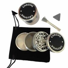 Chrome Crusher Kitchen Herb Spice Grinder 42MM Scraper, Brush, and Pouch