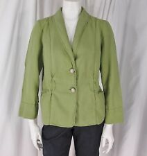J.Jill sz MP Green 100% Linen LS Decorative Stitching/ Seaming Unlined Jacket