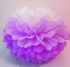 3 x lilac white tissue paper pompoms hanging wedding party birthday decorations