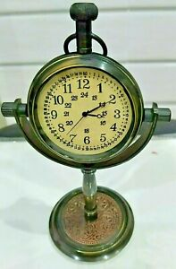 Nautical Vintage Collectible Maritime Antique Brass Desk Clock Table Watch Decor