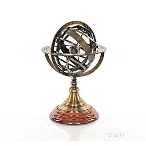 "Brass Armillary Sphere Globe 11.5"" Hardwood Base Antiqued Finish Table Top New"