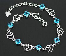 Stylish Blue Topaz, Solid 925 Sterling Silver Heart Bracelet / Bangle +box