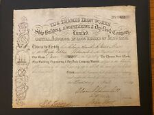 1864 THAMES SHIPBUILDING STOCK SIGN BY LORD ALAN SPENCER CHURCHILL RARE