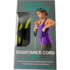 Gaiam Restore Resistance Cord Medium Resistance Green With Black Handles New
