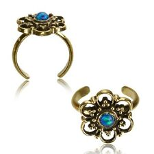 Synthetic Opal Mid-Ring Ornate Boho Gypsy Solid Brass Tribal Toe Ring Mandala