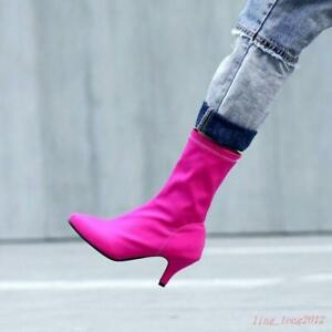 Sexy Womens Point toe faux Suede Kitten Heel Stretchy Pull on Shiny Ankle Boots