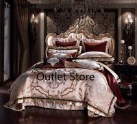 Golden Silk Cotton Luxury Satin Jacquard  Bedding Sets Bed Sheet Set Duvet Cover