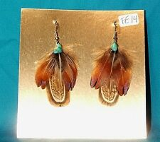 Pheasant Feather Earrings w Real Turquoise Stone Regalia FREE SHIPPING FE14