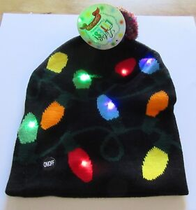 Lotsa Lites Flashing Holiday Knitted Hat -Christmas Lights- black red green blue