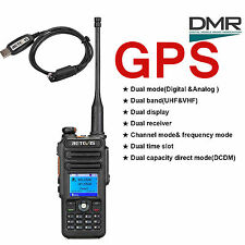 GPS DMR Two-Way Radio Retevis RT82 Dual Band Walkie Talkie Backlight+USB Cable