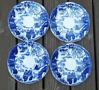 "SET of 4 Royal  Crown  Derby  Blue Mikado saucers  5 1/2"" across"