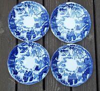 "SET of 4 Royal  Crown  Derby  Blue Mikado saucers  5 1/2"" across"
