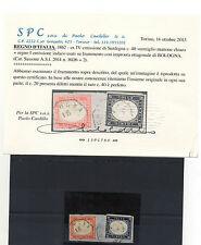 FRANCOBOLLI ANTICHI STATI 1862 SARDEGNA 20 C. INDACO+40 VERMIGLIO MATTONE Z/40