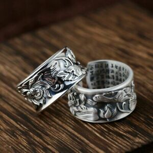 Genuine 925 Sterling Silver Lotus Flower Ring Adjustable Yoga Mantra Buddhism