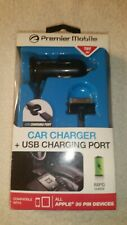 Premier Mobile- Apple car charger +USB, for all 30 pin devices. Brand new in box