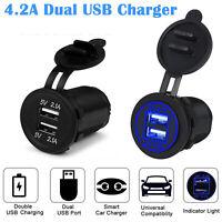 12V Car Lighter Socket Dual 2.1A USB Port Charger Power Outlet LED