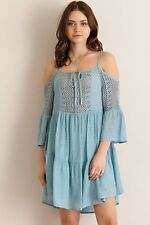 BOHEMIAN GYPSY CROCHET COLD SHOULDER TUNIC DRESS