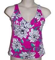 Swim Solutions pink floral tankini top size 16 swimsuit women new